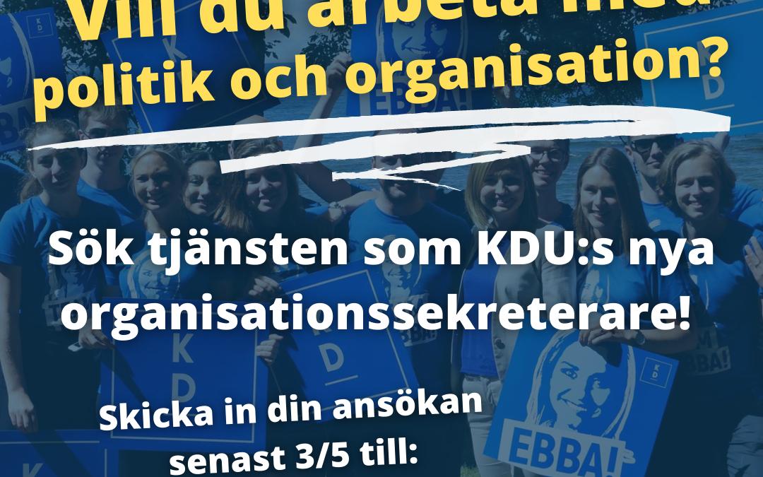 KDU söker organisationssekreterare